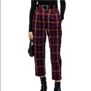 TopShop Tibi Peg Trousers Burgundy Plaid Size 6